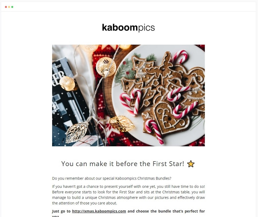 Email newsletter design example - Kaboom Pics