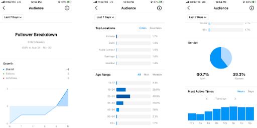 Instagram audience screen